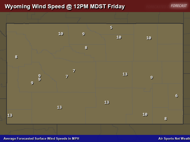 Wyoming Wind Speed Forecast Map