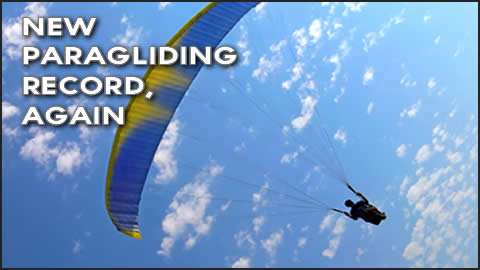 Nick Greece Paragliding Record