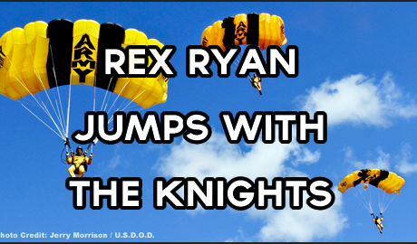 Rex Ryan jumps with the Army Golden Knights