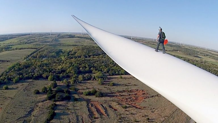 Base Jumping from a Wind Turbine