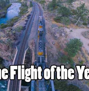 Drone piloting on top of, inside of, and under a moving train.