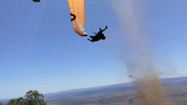 Dirt Devil Ejects Paraglider Pilot