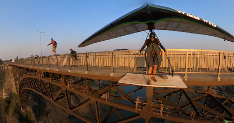 Launching off the Perrine Bridge with a Hang Glider